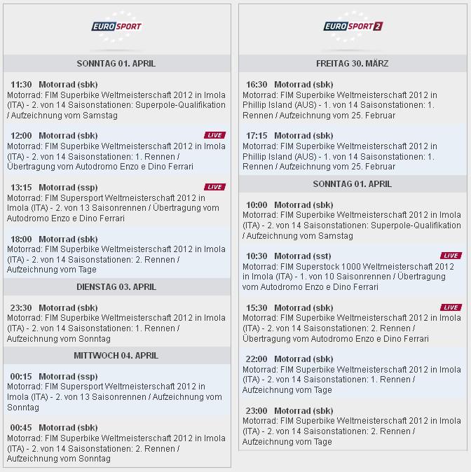 Sendezeiten SBK-WM Imola 2012