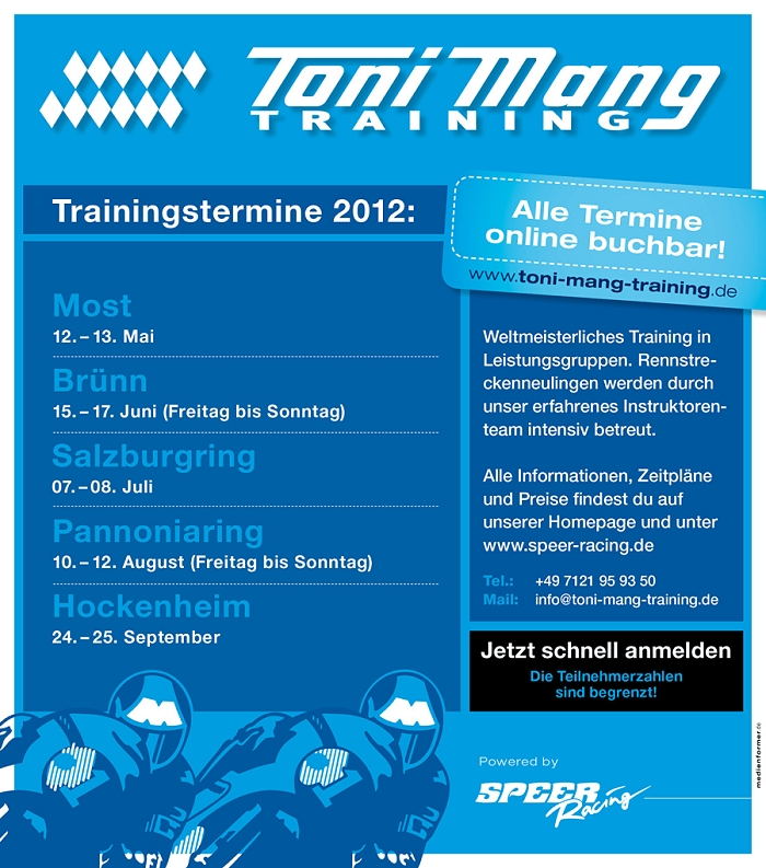 Toni Mang Trainingstermine 2012 by Speer Racing