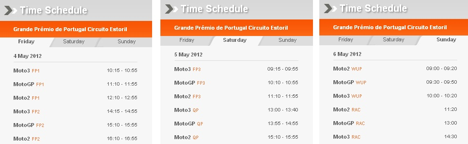 Sendezeiten MotoGP Estoril 2012