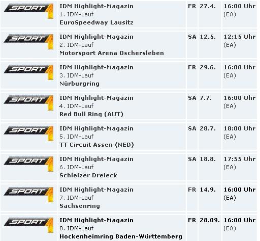 IDM Zusammenfassung auf Sport1 - Sendezeiten