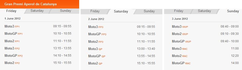 © MotoGP Zeitplan Bacelona 2012