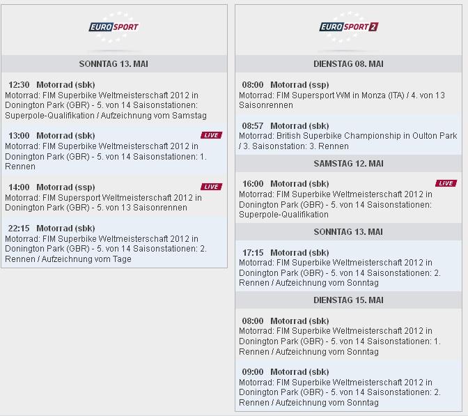 Sendezeiten SBK-WM Donington auf Eurosport