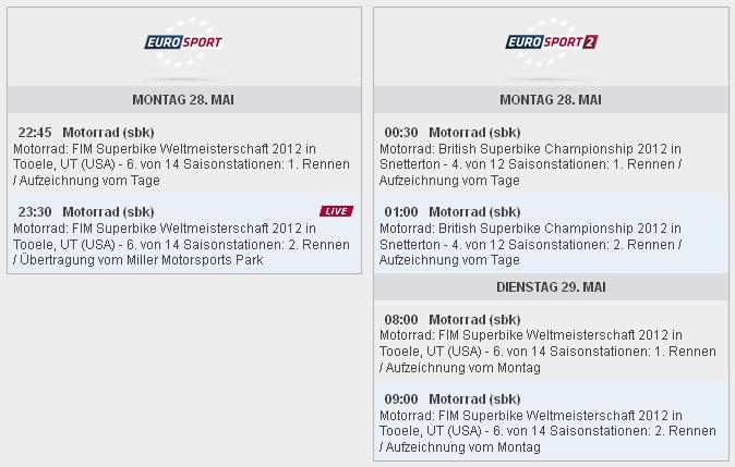 Eurosport Sendezeiten SBK-WM Miller Motorsports Park