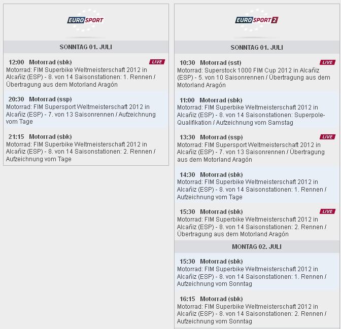 © Eurosport Sendezeiten SBK-WM Aragon 2012