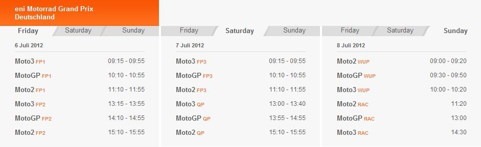 MotoGP Zeitplan Sachsenring 2012