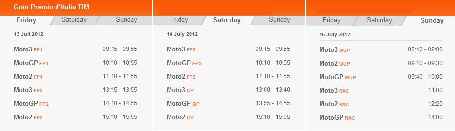 © MotoGP Zeitplan Mugello 2012 (anklicken zum vergrößern)