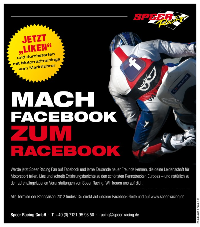 Speer Racing Mach Facebook zum Racebook