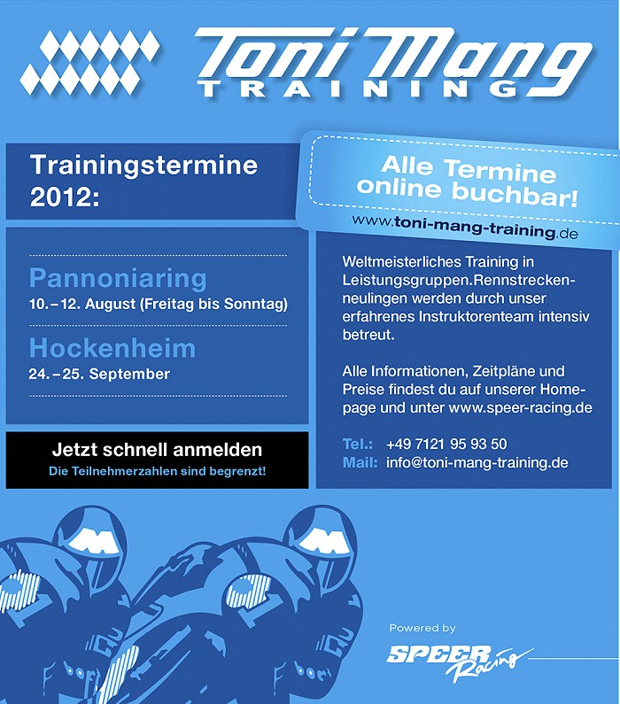 Toni Mang Training powered by Speer Racing