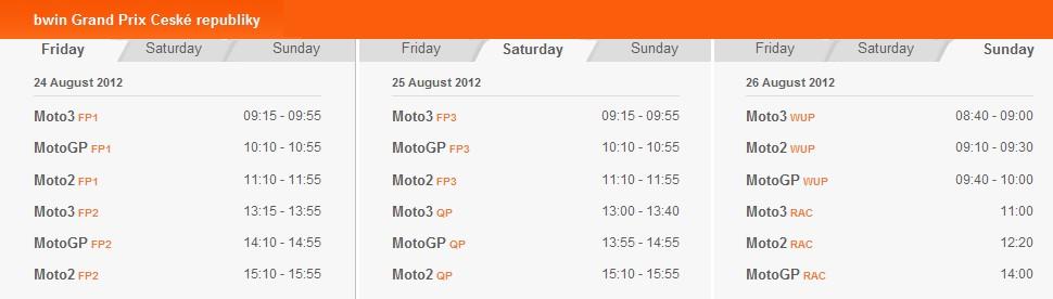 MotoGP Zeitplan Brünn 2012