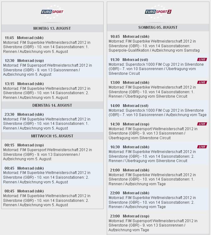 Eurosport Sendezeiten SBK-WM Silverstone 2012