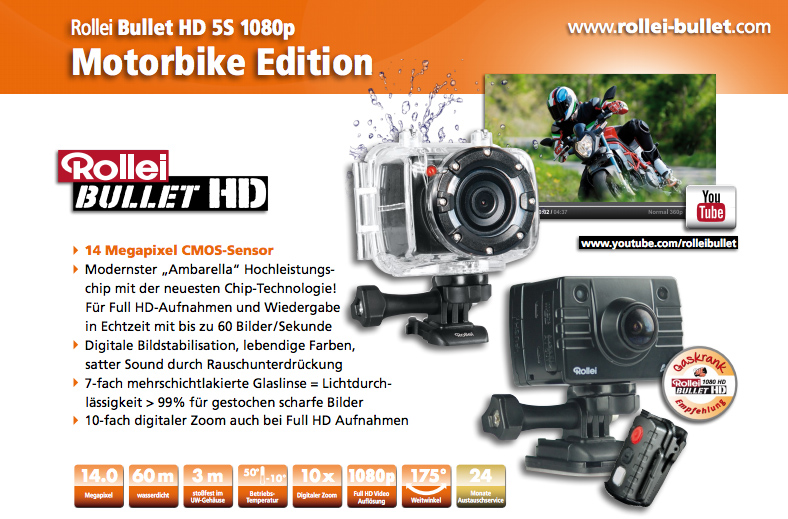 die actioncam f r das motorrad gaskrank magazin. Black Bedroom Furniture Sets. Home Design Ideas