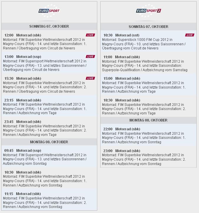 Eurosport Sendezeiten SBK-WM Magny Cours 2012