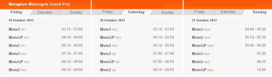 © MotoGP Zeitplan Sepang 2012