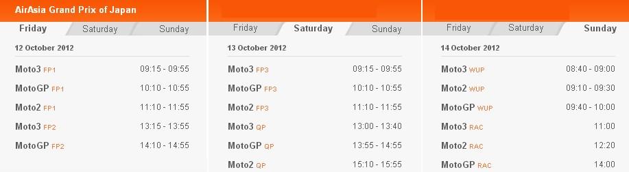 MotoGP Zeitplan Motegi 2012
