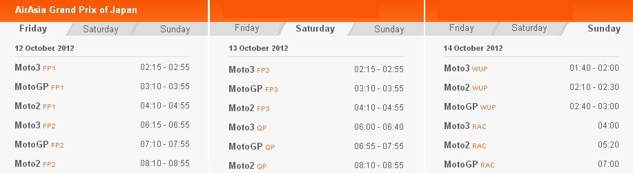 © MotoGP Zeitplan Motegi 2012