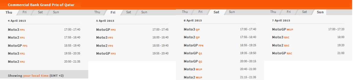 (c) MotoGP Qatar 2013 Zeitplan