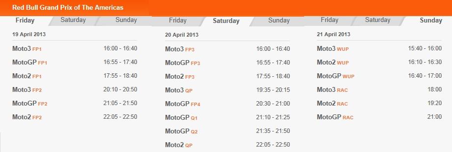 © MotoGP - Zeitplan Austin 2013