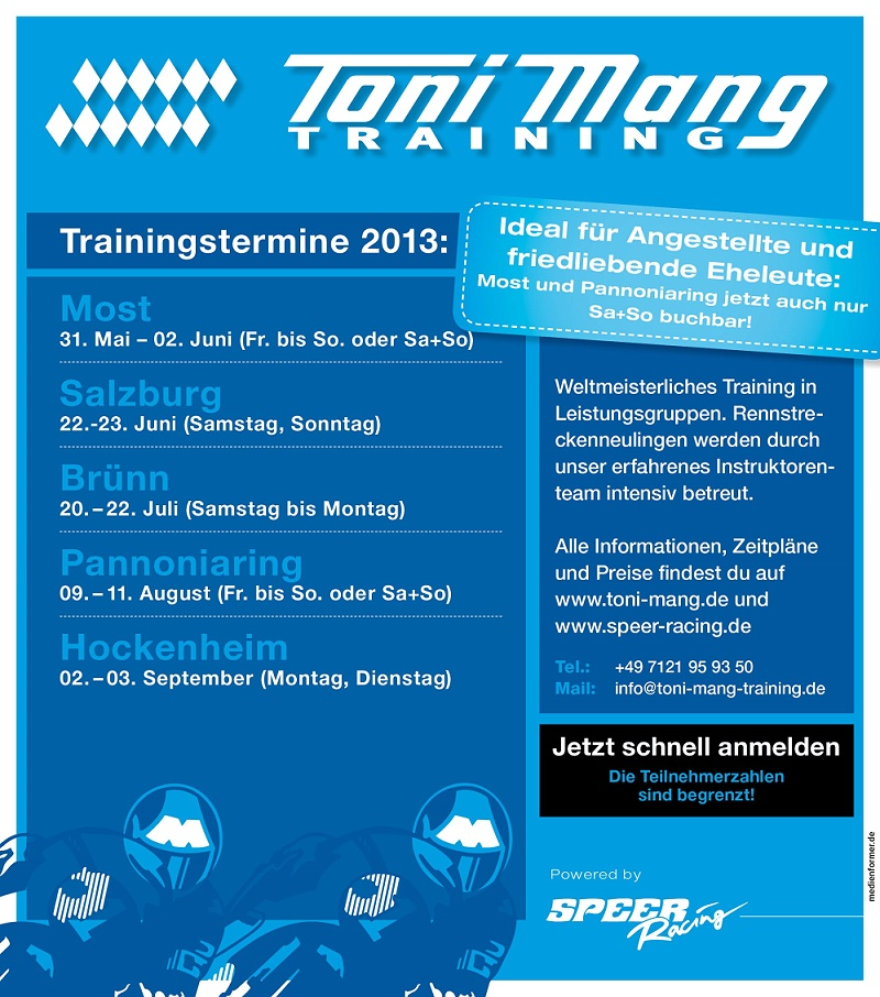 toni mang training powered by speer racing jetzt buchen gaskrank magazin. Black Bedroom Furniture Sets. Home Design Ideas