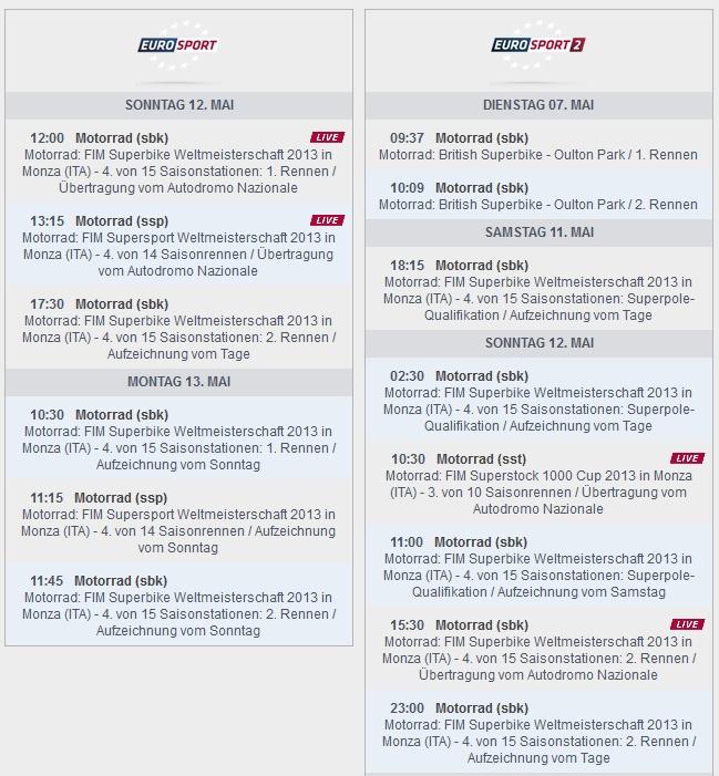 © www.eurosport.de – Sendezeiten Europort Monza