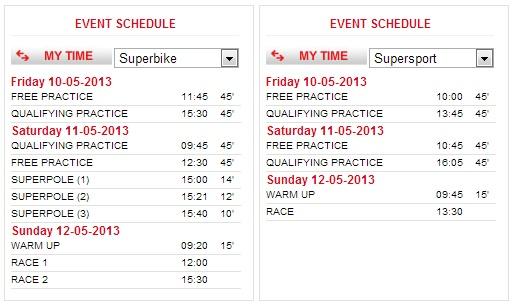 © www.worldsbk.com - Superbike-WM Monza - Zeitplan