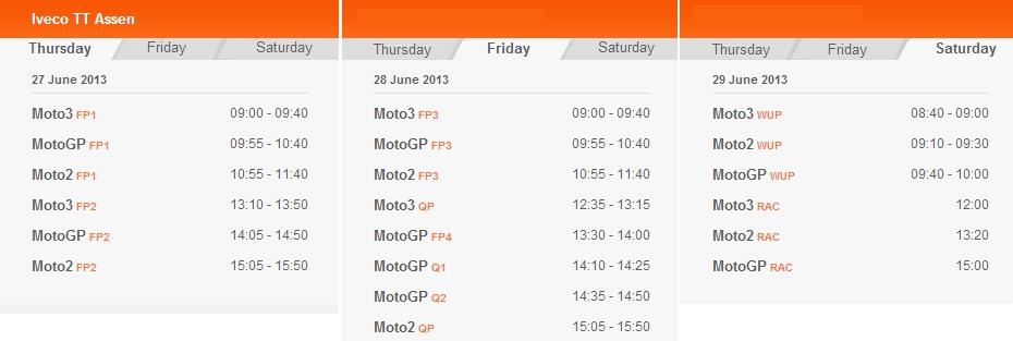 © MotoGP.com Zeitplan Assen