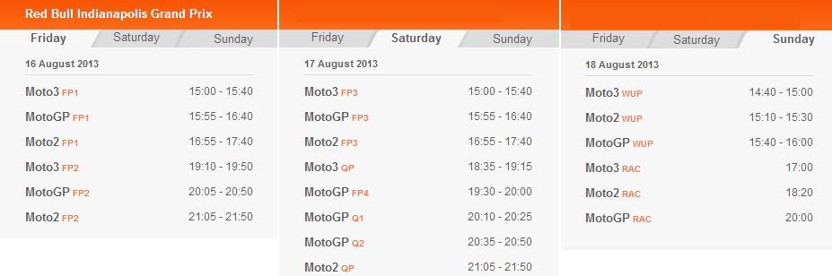 © MotoGP.com Zeitplan Indianapolis