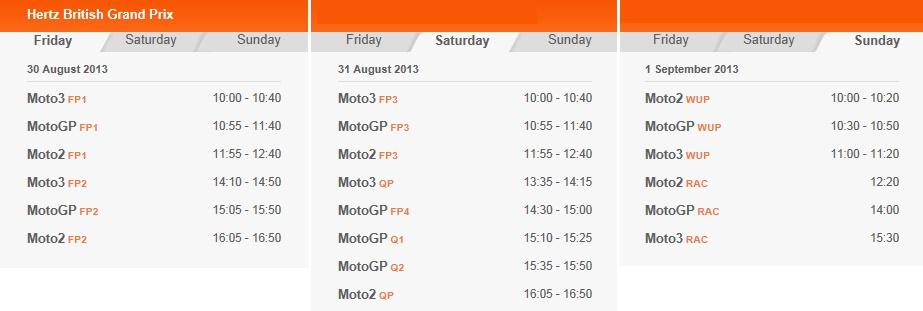© MotoGP.com Zeitplan Silverstone