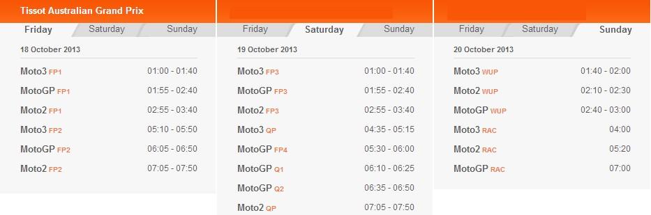 © MotoGP.com Zeitplan Phillip Island