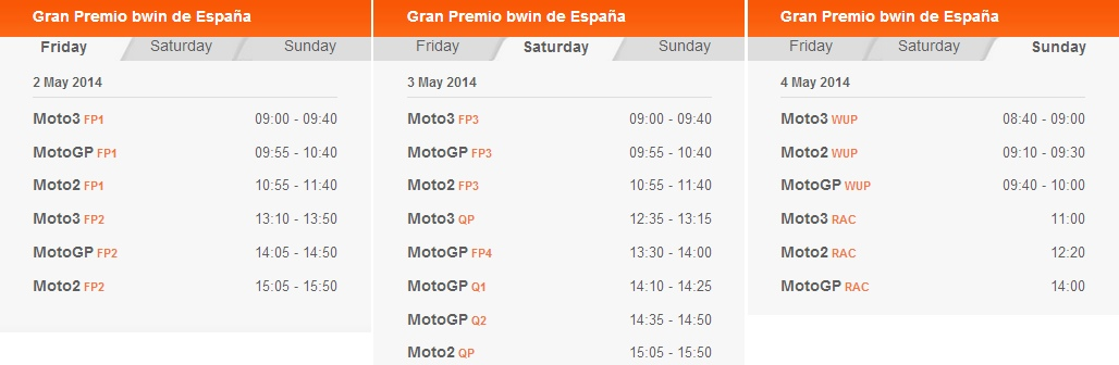 © MotoGP Jerez 2014 Startzeiten