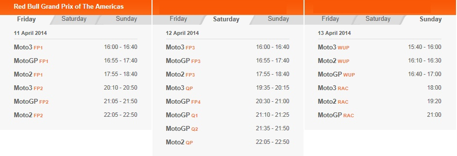 © MotoGP - Zeitplan Austin 2014