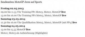 Sendezeiten Sport1