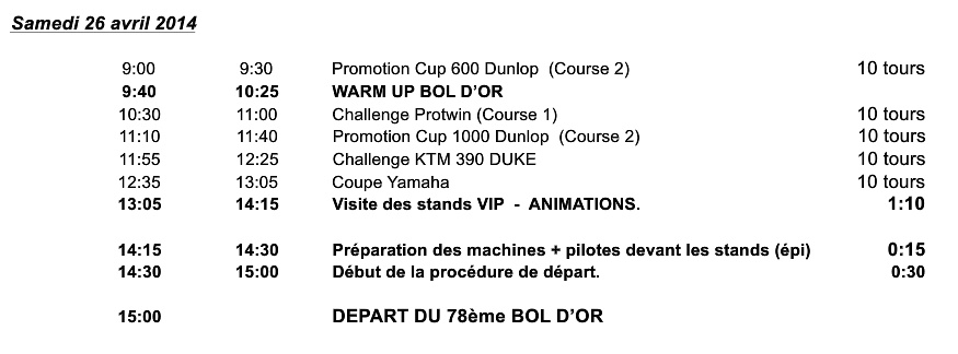 Bol d'Or Magny Cours - Zeitplan