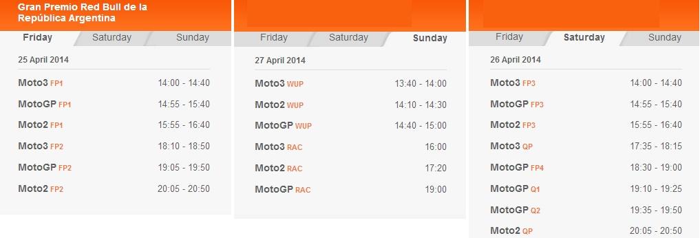 © MotoGP - Zeitplan Argentinien 2014