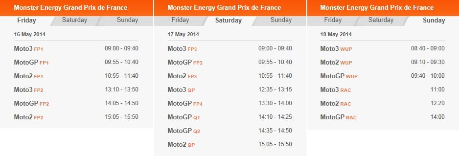 © MotoGP LeMans 2014 Startzeiten