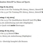 Sendezeiten LeMans Sport1