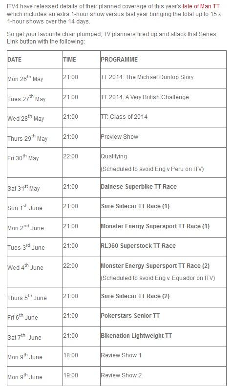 TT 2014 - Sendezeiten ITV4