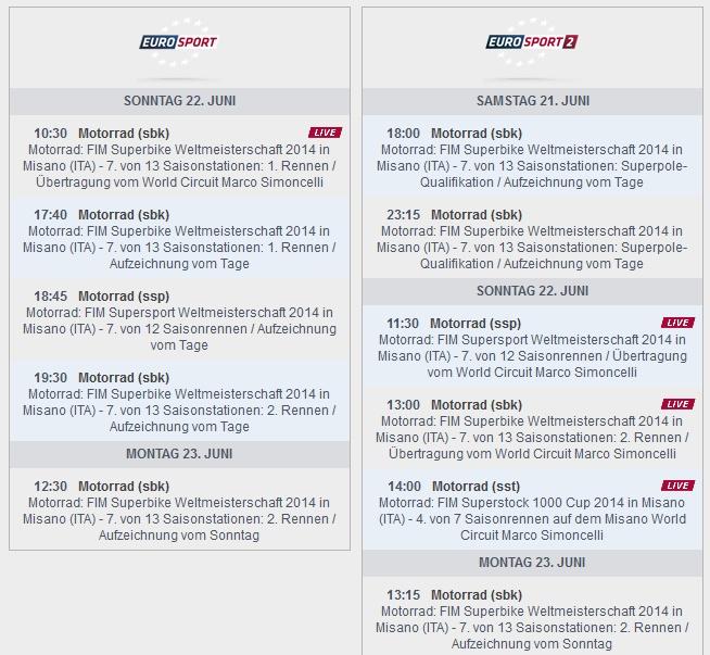 © Eurosport Sendezeiten SBK-WM Misano 2014 (anklicken zum vergrößern)