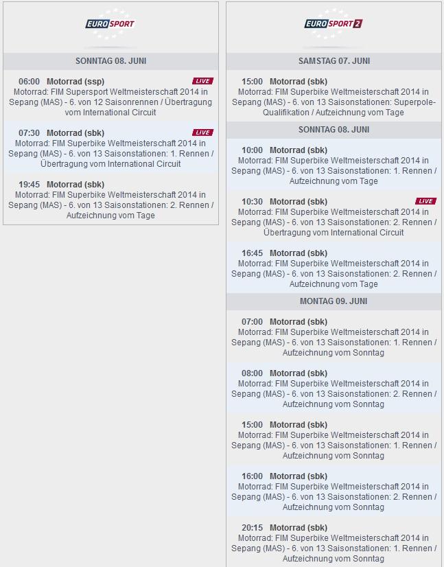 © Eurosport Sendezeiten SBK-WM Sepang 2014 (anklicken zum vergrößern)