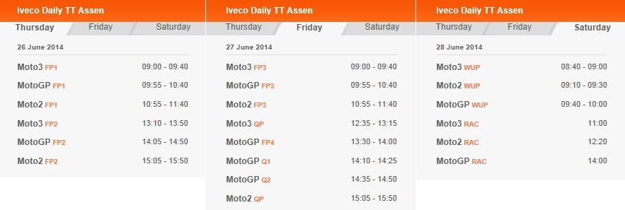 © MotoGP Assen 2014 Startzeiten