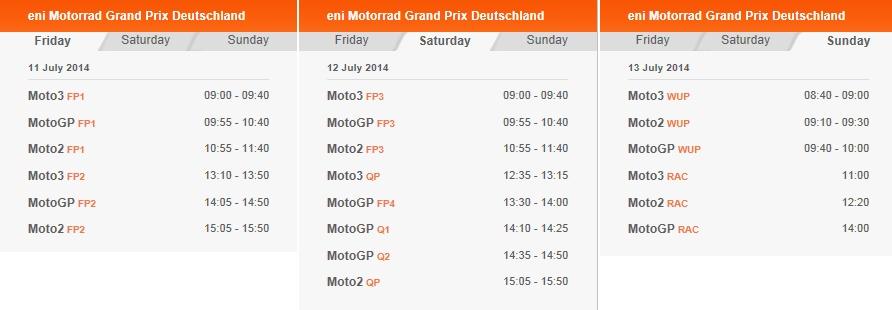 © MotoGP Sachsenring 2014 Startzeiten