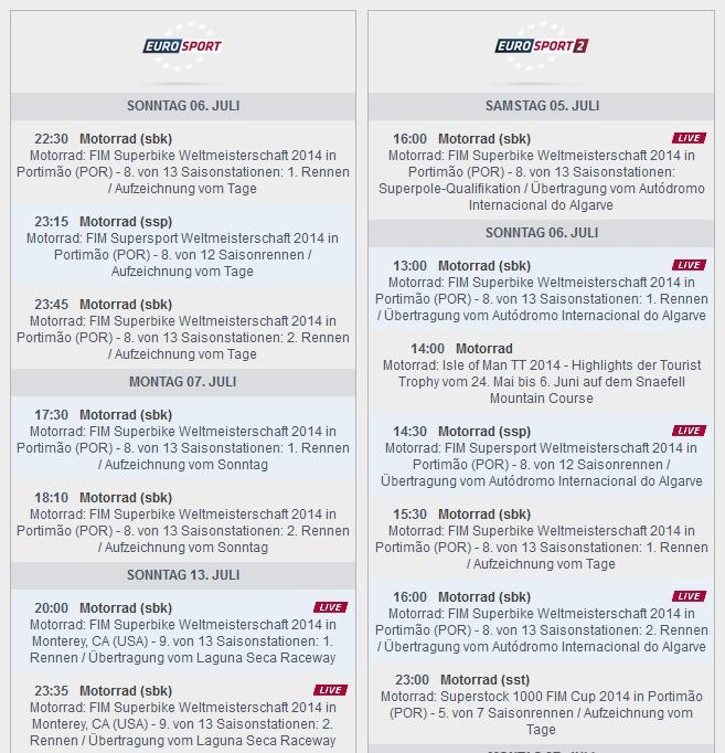 © Eurosport Sendezeiten SBK-WM Portimao 2014 (anklicken zum vergrößern)