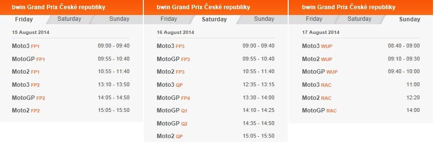 © MotoGP Brünn 2014 Startzeiten
