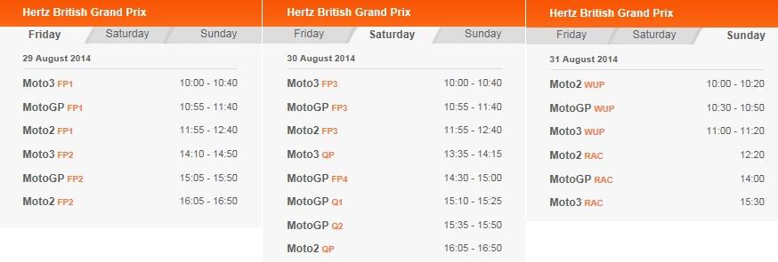 © MotoGP Silverstone 2014 Startzeiten