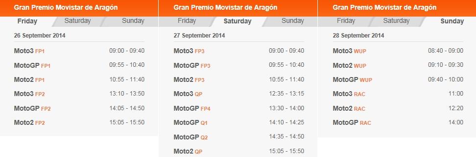 © MotoGP Aragon 2014 Startzeiten