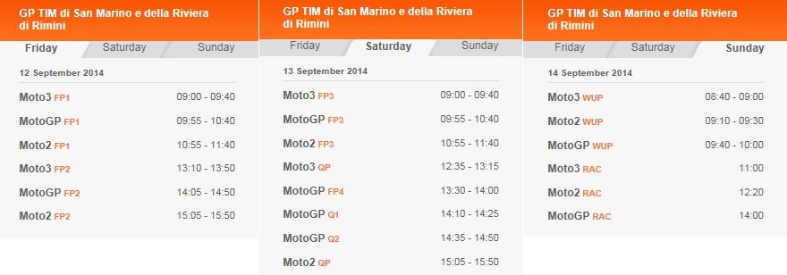 © MotoGP Misano 2014 Startzeiten