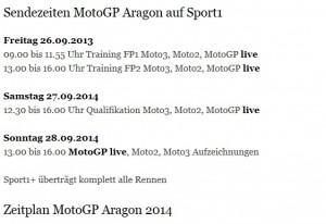 Sendezeiten Aragon Sport1