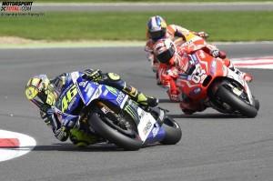 © Yamaha Motor Racing Srl - Valentino Rossi setzte sich gegen Andrea Dovizioso und Dani Pedrosa durch