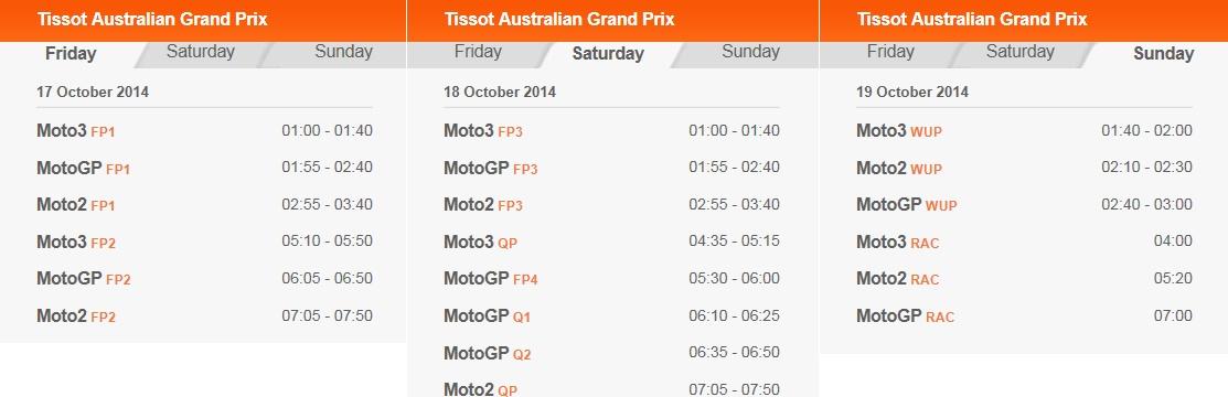 © MotoGP Phillip Island 2014 Startzeiten