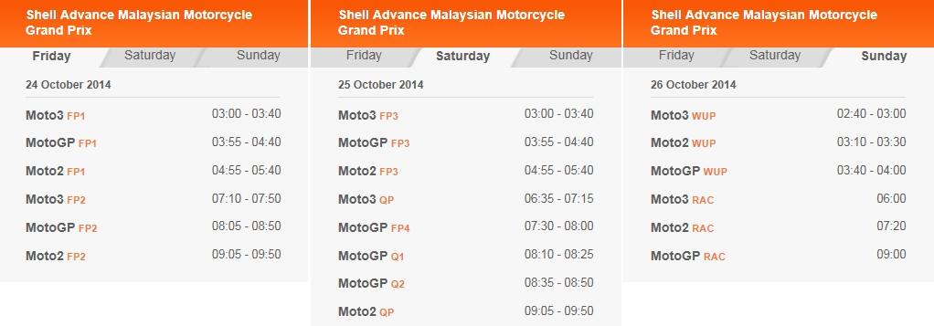 © MotoGP Sepang 2014 Startzeiten