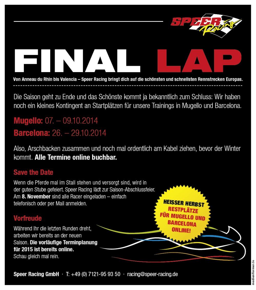 speer racing final lap zum saisonende gaskrank magazin. Black Bedroom Furniture Sets. Home Design Ideas